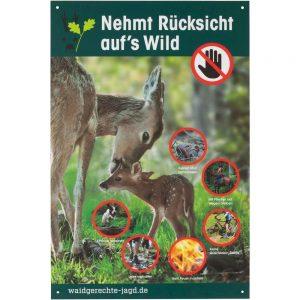 Nehmt Rücksicht auf´s Wild, Quelle: https://www.frankonia.de/p/waidgerechte-jagd/warnschild-r%C3%BCcksicht-auf-wild/2005341